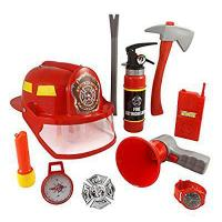 Buy cheap 10 Pcs Fireman Gear Firefighter Costume Role Play Toy Set for Kids with Helmet and Accessories from wholesalers