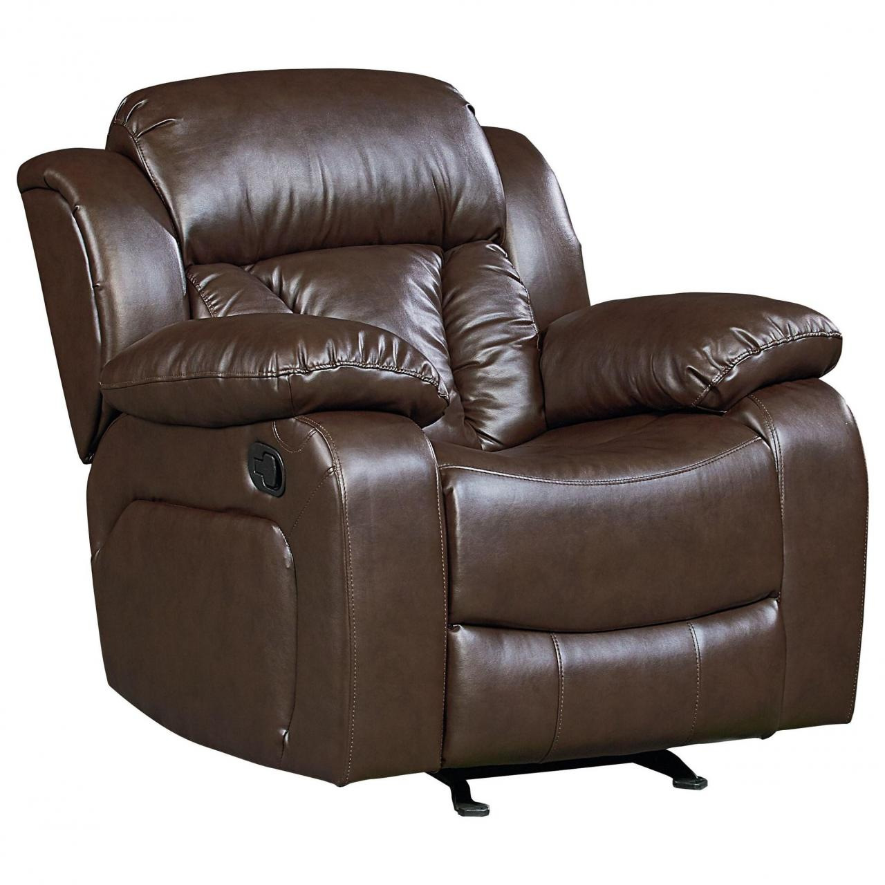 China Faux Leather Rocker Recliner with Pillow Arms and Pub Headrest on sale
