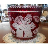 China EUROPEAN CUT & ETCHED RUBY RED CRYSTAL CHAMPAGNE BUCKET on sale
