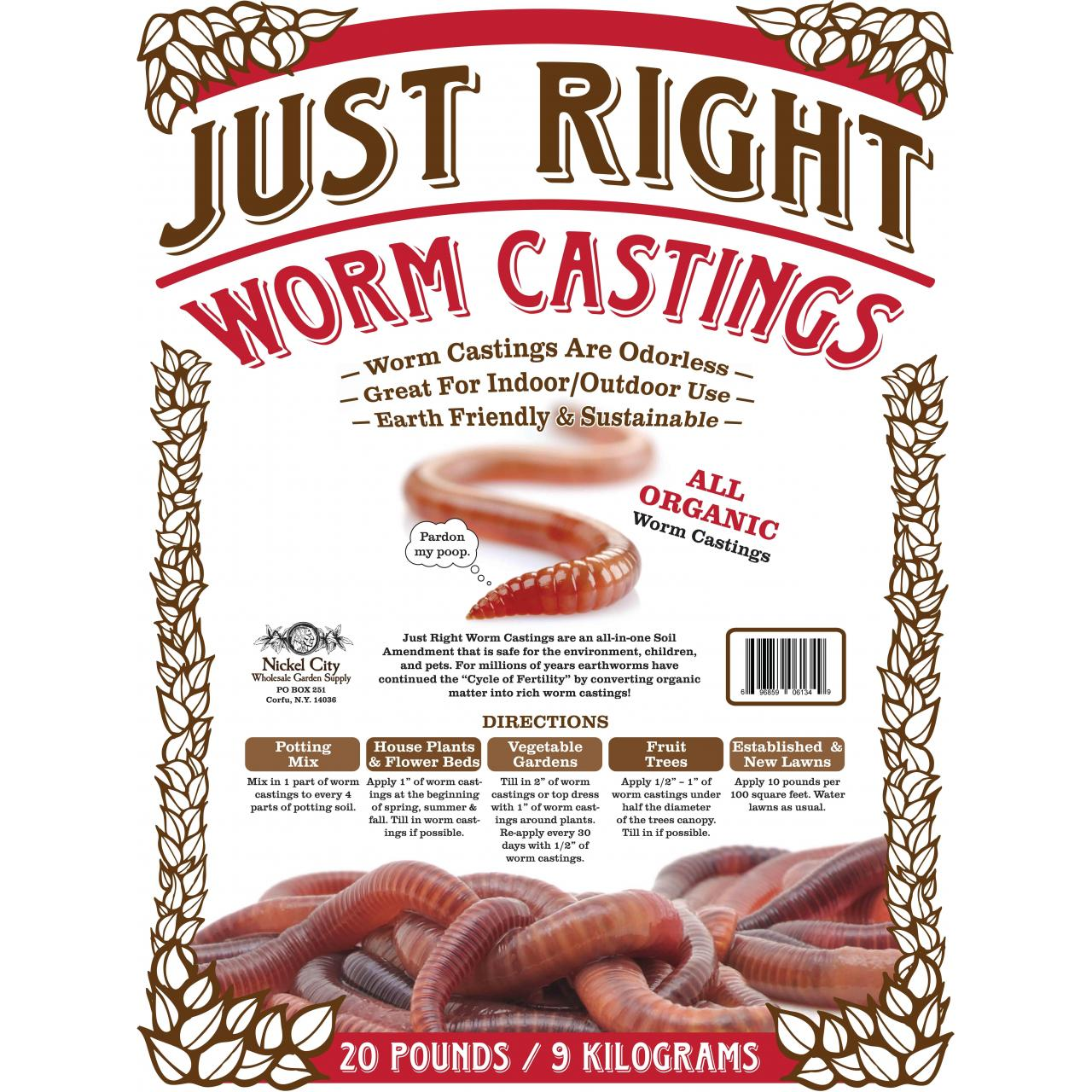 China Just Right Vegan Organic Worm castings on sale