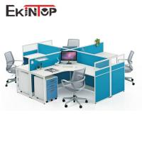 Blue screen modern office furniture 4 person workstation for sale