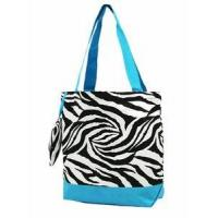 China Zebra Print Monogrammed Tote Bag- Turquoise on sale
