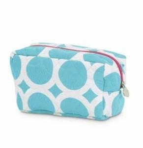 China Monogrammed Quilted Cosmetic Bag - Large Dots Turquoise