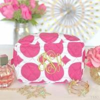 Wholesale Monogrammed Quilted Cosmetic Bag - Large Dots Pink from china suppliers