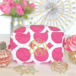 China Monogrammed Quilted Cosmetic Bag - Large Dots Pink