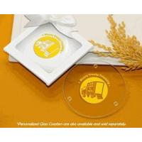 Wholesale White Glass Coaster Gift Box w/ Clear Window & Satin Bow from china suppliers