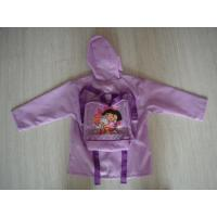 Wholesale Children's Polyester Purple Packable Rain Jacket With Hood from china suppliers