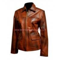 Wholesale The Hunger Games Katniss Distress Brown Leather Jacket from china suppliers