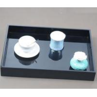 China Luxury Elegant Black Wooden Lacquer Tea Serving Tray With Handles on sale