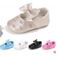 China cute pu leather bow fancy girl embroidery best walking infant baby dress shoes on sale