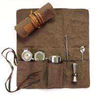China Well Crafted Custom Waxed Canvas Roll Up Bartender Tool Bags with Leather Trims on sale