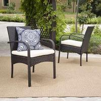 Wholesale Set of 2 Carmela Outdoor Multibrown PE Wicker Dining Chairs from china suppliers