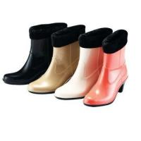 China PVC Stylish High Heel Gumboots with Fur-lining for Women on sale