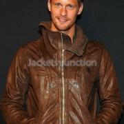 Wholesale Celebrity Leather Jackets Alexander Skarsgard Stylish Brown Leather jacket from china suppliers