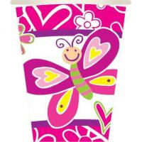 BUTTERFLIES - 8 PCS 10 OZ. CUPS