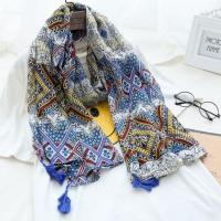 Wholesale Bohemian Style Multicolor Floral Geometric Printed Scarf with Blue Tassels from china suppliers