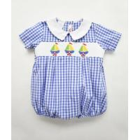 China Blue Gingham Boat Smock Baby Boy Clothes on sale
