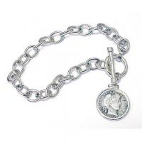 Wholesale STERLING SILVER TOGGLE BRACELET WITH SILVER BARBER DIME from china suppliers