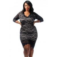 China New Arrivals Black Plus Size Laced Overlay High Low Dress on sale