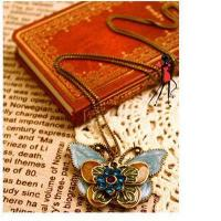 China Wind Drops Oil Drilling Multi Palace Retro Blue Butterfly Necklace Sweater Chain on sale
