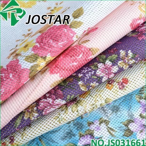 Quality Flower Mesh Fabric PU Glitter for sale