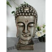 China Exterior Buddha Art Head Stainless Steel Statue for Temple Decor on sale