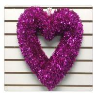 Wholesale Valentine's Day Wreath RED Heart Tinsel Ornaments Hanging Door Wreath from china suppliers