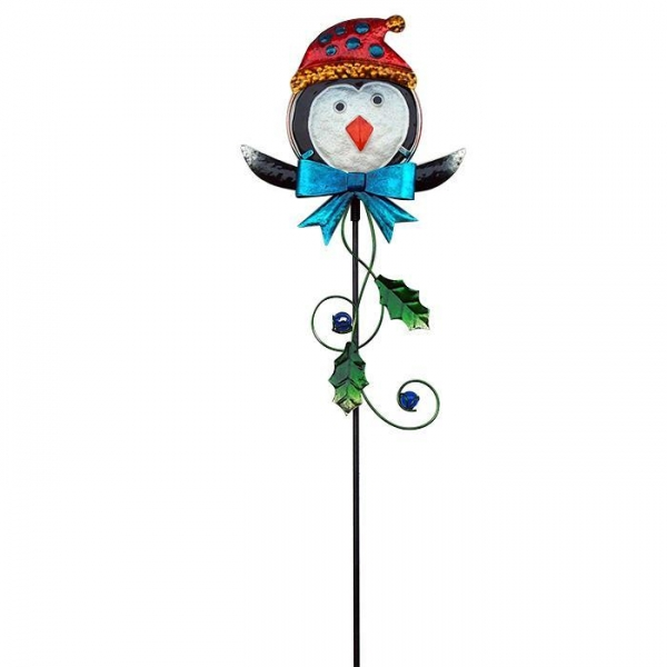 Quality Hot Sale Metal glass snowman stake Christmas Decoration for sale