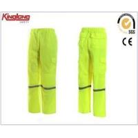 China High visibility reflective tapes yellow pant,side pockets elastic waist pant on sale