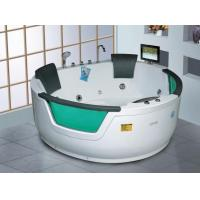 China Big Space Freestanding Round Air Massage Whirlpool Hot Tub with Tempered Glass on sale