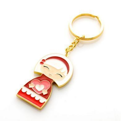 Quality Pretty Japanese Dolls Gold Plating Keychain Cute Souvenir Key Rings SK-038 for sale