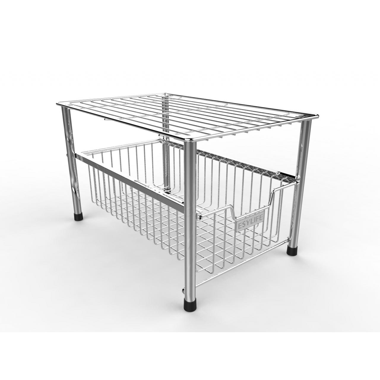 Wholesale PRODUCT ESYLIFE Mesh Kitchen Cabinet Basket organizer with Sliding Drawer, Silver from china suppliers