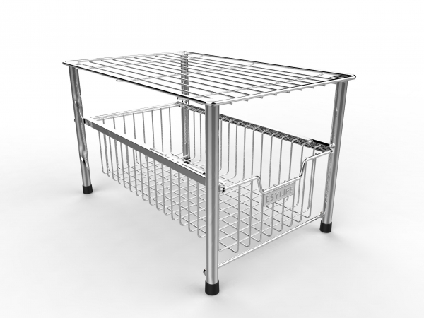 Quality PRODUCT ESYLIFE Mesh Kitchen Cabinet Basket organizer with Sliding Drawer, Silver for sale