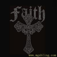 China Nice Cross Faith Shirt rhinestone trimming,cross crystal rhinestone applique for T-shirts on sale