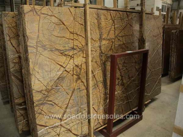 Quality Indian Rainforest Brown Granite Slab Countertop Price for sale