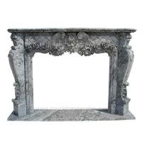 Grey Marble Carved Victoria Stone Fireplace Surrounds for sale