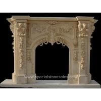 Classic Yellow Marble Outdoor Stone Fireplace Surrounds Designs Ideas for sale