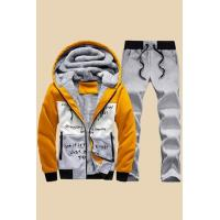 China Men's Tracksuits Yellow Fleece-lined Mens Hooded Tracksuit on sale