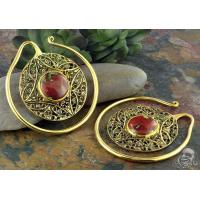 Buy cheap Solid brass Aether Puj Ju hoops with dragon's blood jasper from wholesalers