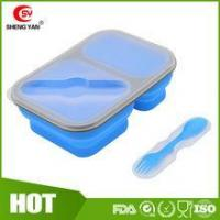 Wholesale Can print logo Collapsible 2 compartment silicon lunch box for student from china suppliers