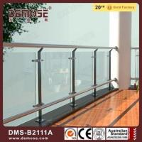 China Stainless steel stair fitting with glass removable handrail bracket pipe support on sale