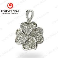 Wholesale 2016 Fashionable Clover Micro Pave Setting 925 Sterling Silver Pendant from china suppliers