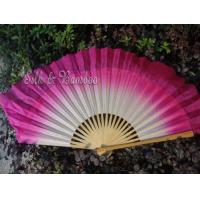 Wholesale traditional 30cm bamboo+10cm silk white-pink flutter from china suppliers