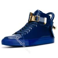 China Shoespie Blue Patent Leather Men's Sneakers on sale