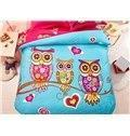 Wholesale Family of Little Owls Print 4-Piece Natural Cotton Duvet Cover Sets from china suppliers