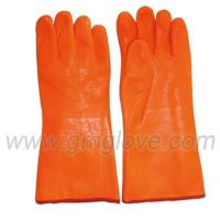 Wholesale Orange Fluorescent PVC Coated Work Gloves For Winter, Sandy Palm from china suppliers