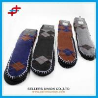 Wholesale Men Argyle Patterned Indoor Anti-Slip Floor Shoe Socks from china suppliers