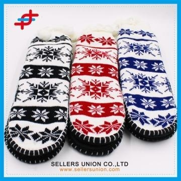 Quality Winter Jacquard Knitted Thick Home Grab Sole Slipper Socks for sale