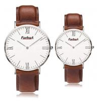 Wholesale Rose gold/light brown leather band couple watch from china suppliers