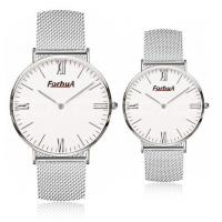 Steel mesh band simple couple watch